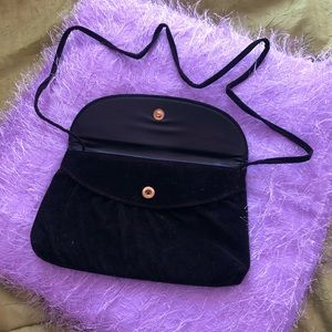 Velvet Crossbody Purse with Button Closure